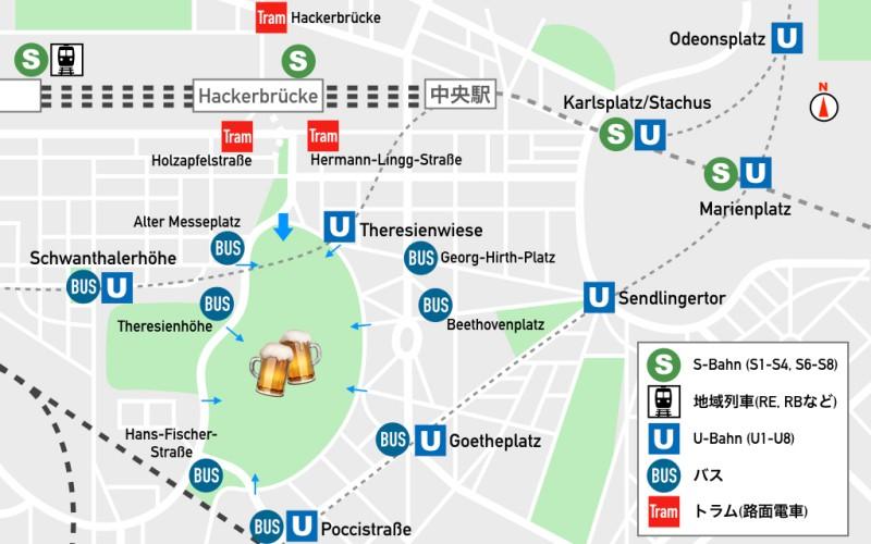 Theresienwiese周辺地図と会場入り口